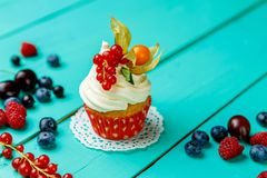 Cupcakes with summer berries Royalty Free Stock Image