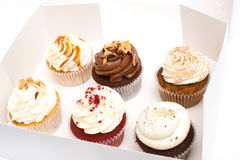 Cupcakes. Sweet cupcakes in the box royalty free stock photo
