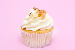 Cupcakes. Sweet cupcake on pink background royalty free stock photo