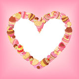 Cupcakes, sweets, macaroons, pastries vector heart frame on pink background. Stock Photos