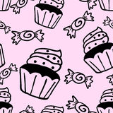 Cupcakes sweets seamless doodle vector pattern Royalty Free Stock Images