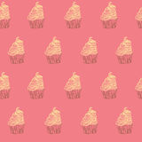 Cupcakes sweets seamless doodle vector pattern hand drawn. Hand drawn cupcakes sweets seamless doodle vector pattern Stock Images