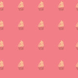 Cupcakes sweets seamless doodle vector pattern hand drawn Stock Image