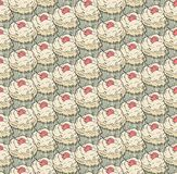 Cupcakes sweets seamless doodle vector pattern hand drawn.Vintage bakery  background. Stock Photo
