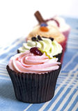 Cupcakes on tablecloth Royalty Free Stock Photos