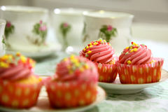 Cupcakes and tea Royalty Free Stock Photography
