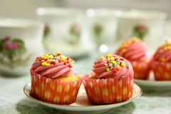 Cupcakes and tea Royalty Free Stock Image