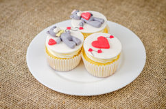 Cupcakes with teddy bear on plate Royalty Free Stock Photo