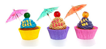 Cupcakes with text and umbrella Royalty Free Stock Image
