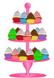 Cupcakes on Three Tier Cake Stand Illustration. Cupcakes on Pink Three Tier Cake Stand Illustration Isolated on White Background Royalty Free Stock Images