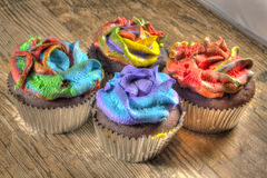 Cupcakes with Tie Dye Frosting Royalty Free Stock Photos