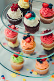 Cupcakes on a Tiered Platters Stock Photos
