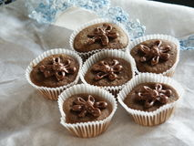Cupcakes Topped With Chocolate Frosting Flowers. Sitting on a white table cloth with blue lace are six brown cupcakes topped with chocolate frosting flowers Royalty Free Stock Image
