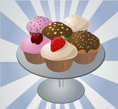 Cupcakes on tray vector illustration