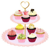 Cupcakes at the tray Royalty Free Stock Image
