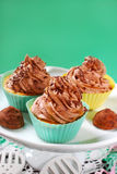 Cupcakes with truffle cream and caramel Royalty Free Stock Photos