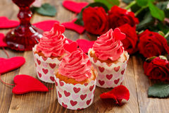 Cupcakes for Valentine's Day. Royalty Free Stock Photo