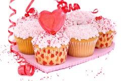 Cupcakes van de valentijnskaart Stock Fotografie