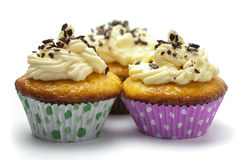 Cupcakes with vanilla whipped cream Stock Photo