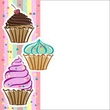 Cupcakes in the vector. Card with cupcakes in the vector Stock Image