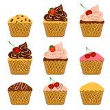 Cupcakes. Vector illusrate cartoon sweet cupcakes and cake Stock Photos