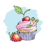 Cupcakes vector illustration cherry card. Cake with cherry strawberry vector card Royalty Free Stock Images