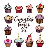 Cupcakes vector set vector illustration
