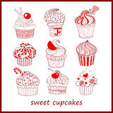 Cupcakes vector set Royalty Free Stock Images