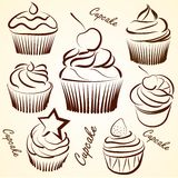 Cupcakes vectors Royalty Free Stock Photos