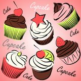 Cupcakes vectors Stock Photos