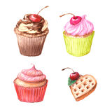 Cupcakes, Viennese wafers, chocolate. Stock Images