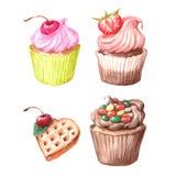 Cupcakes, Viennese wafers, chocolate. Stock Photos