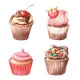 Cupcakes, Viennese wafers, chocolate. Stock Image