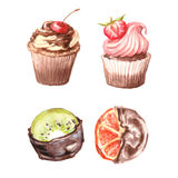 Cupcakes, Viennese wafers, oranges and kiwi fruit in chocolate. Stock Images