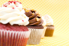 Cupcakes on vintage background Royalty Free Stock Images