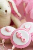 Cupcakes voor een babydouche Stock Fotografie