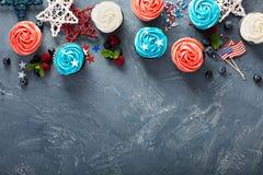 Cupcakes voor het Vierde van Juli stock fotografie