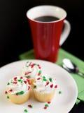 Cupcakes voor Kerstmis Stock Foto's
