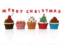 Cupcakes Vrolijke Kerstmis Royalty-vrije Stock Fotografie