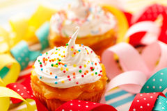 Cupcakes with whipped cream Royalty Free Stock Image