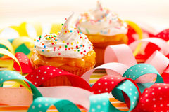 Cupcakes with whipped cream Stock Images
