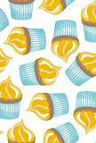 Cupcakes on white background seamless pattern Stock Photo