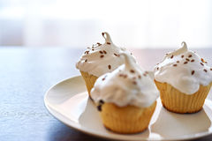 Cupcakes with white cream. Three cupcakes with white cream on the plate Stock Photo