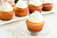 Cupcakes with white frosting Royalty Free Stock Photos