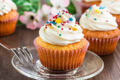Cupcakes with white frosting and sprinkles Stock Images