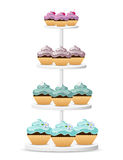 Cupcakes on a white stand Stock Images