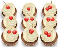 Cupcakes on a white table. Summer delicious desserts cherry vanilla flavors Vector Royalty Free Stock Photos
