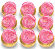 Cupcakes on a white table. Summer delicious desserts pink color Royalty Free Stock Images