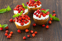 Cupcakes with wild strawberries and cream Stock Image