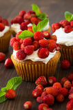 Cupcakes with wild strawberries and cream Stock Photos